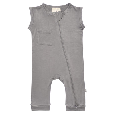 Kyte BABY Zippered Sleeveless Romper Zipper Sleeveless Romper in Chrome