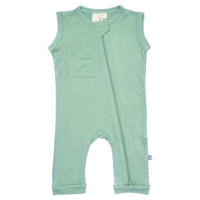 Kyte BABY Zippered Sleeveless Romper Zipper Sleeveless Romper in Matcha
