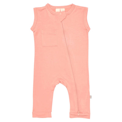 Kyte BABY Zippered Sleeveless Romper Zipper Sleeveless Romper in Terracotta