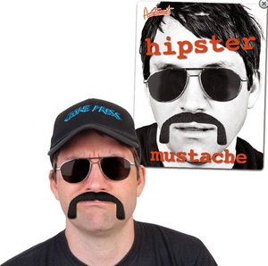 Hipster Fake Mustache Facial Hair Costume Set