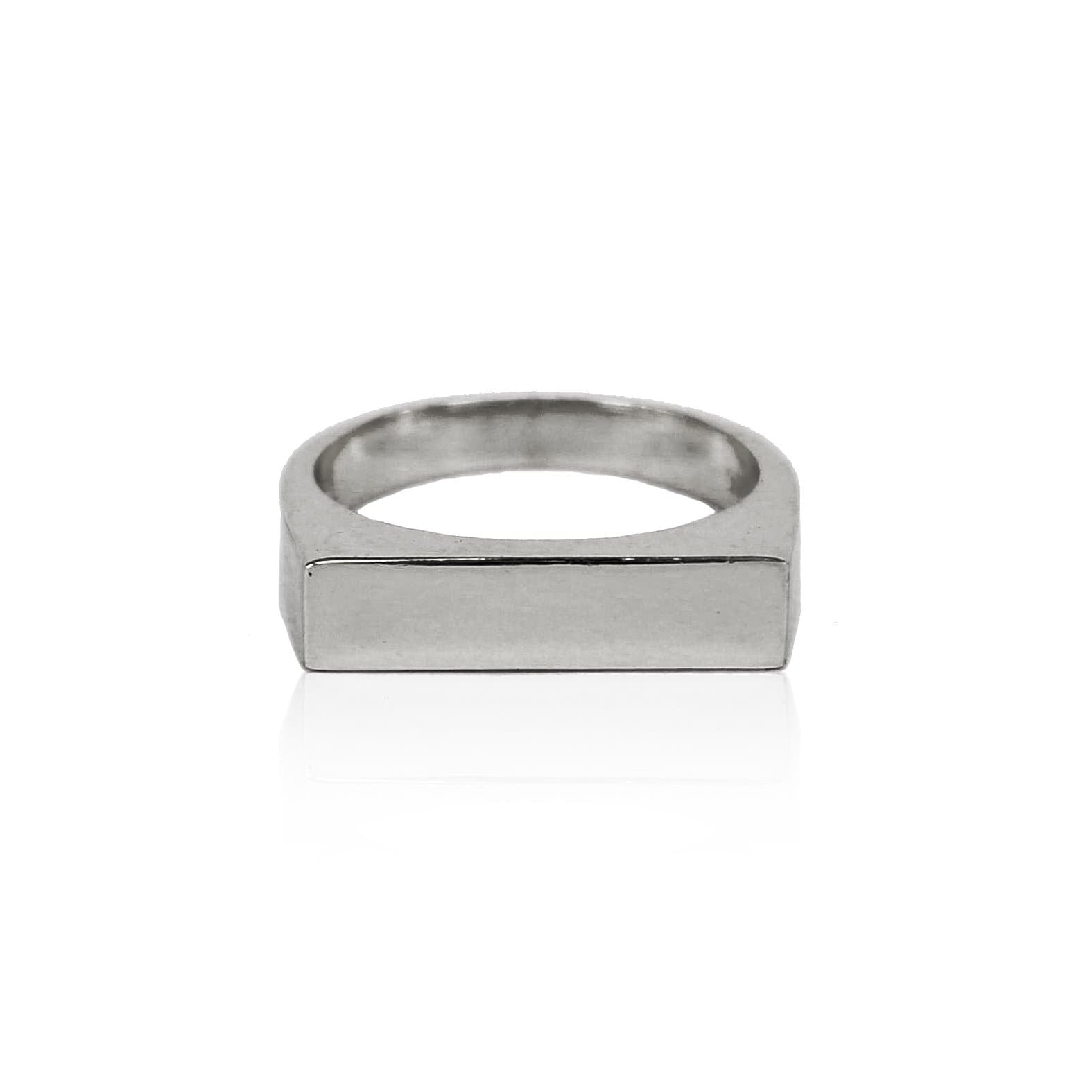 Bar Solid Sterling Silver Ring (Engravable)