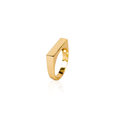Bar Gold Vermeil Ring (Engravable)