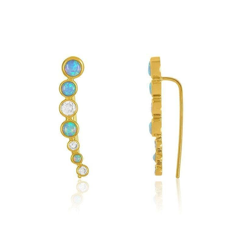 Gold, Blue Opal with White Diamondettes