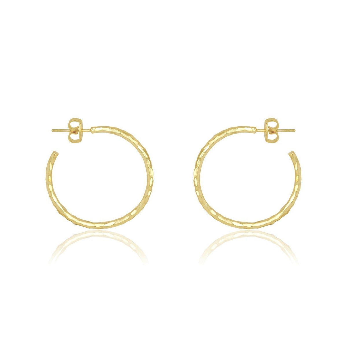 "1"" Hermes Hammered Hoop Earrings"