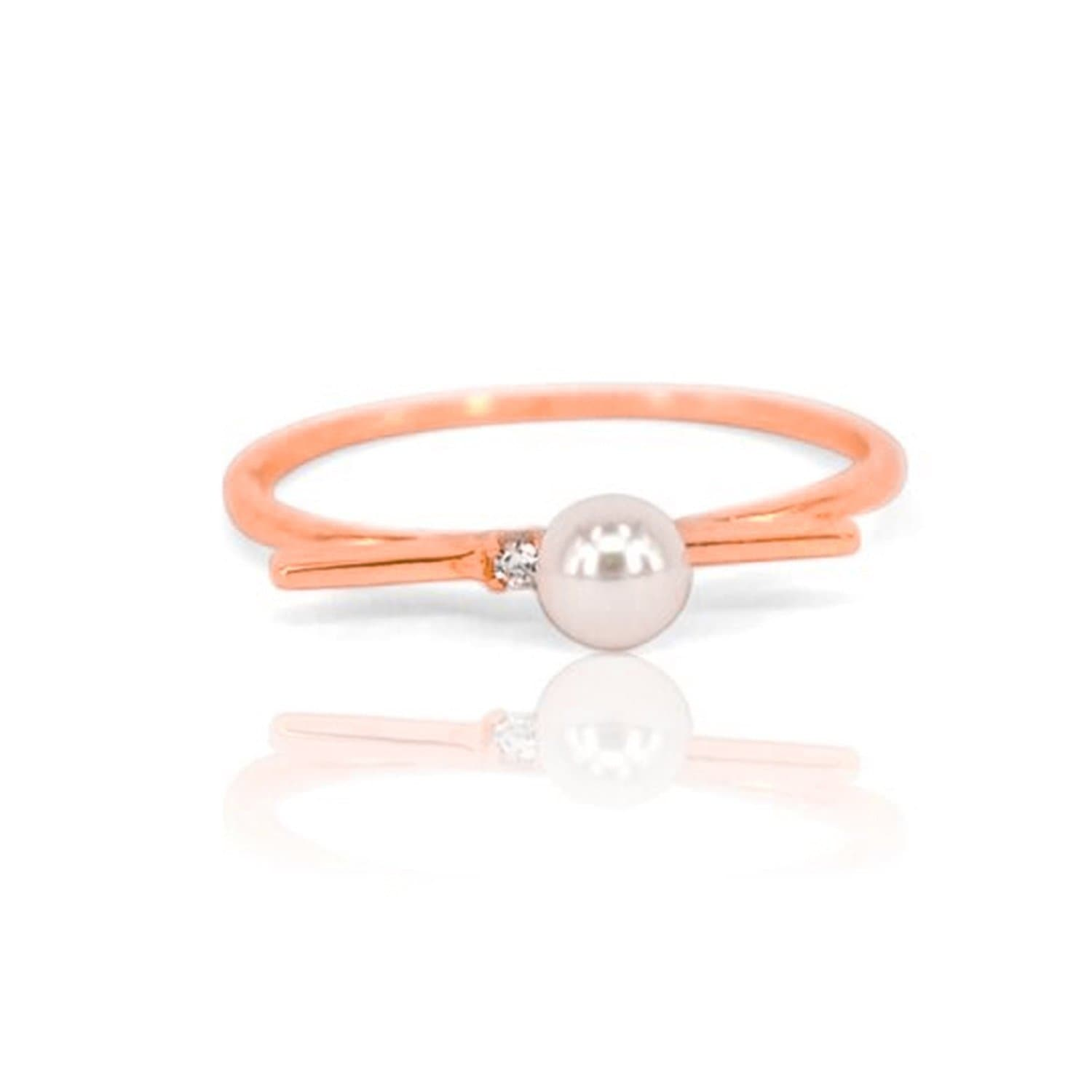 Rose Gold, Pearl with White Diamondettes