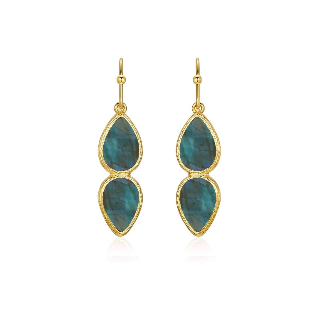 June Stone Earrings Gold Labradorite
