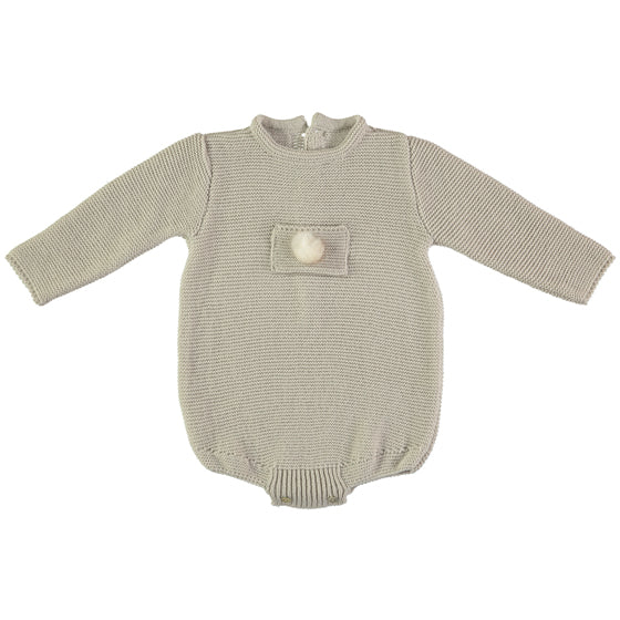 Spanish Classic style baby grow in cream colour with small pompom. Made in Spain.