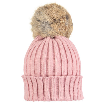 Dusty pink baby fur bobble hat