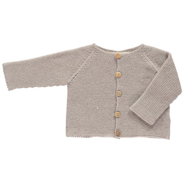 Beige classic knitted cardigan
