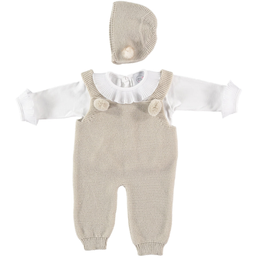 Beige baby romper with pompoms