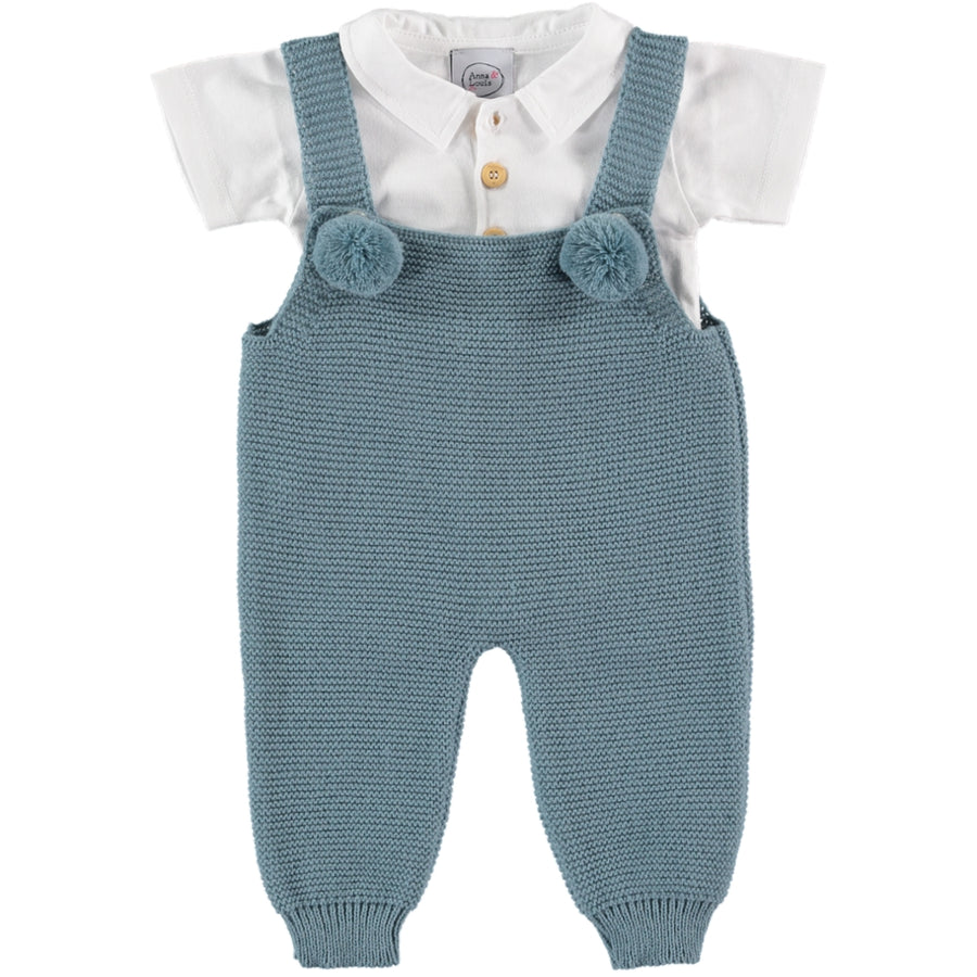 Blue knitted dungarees