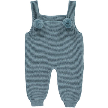 Blue baby romper with pompoms