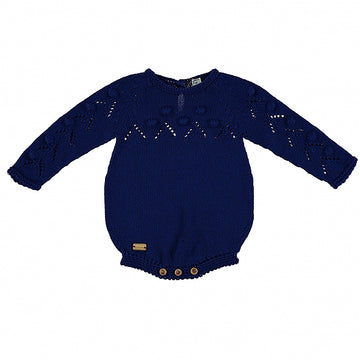 Navy popcorn romper knitting pattern