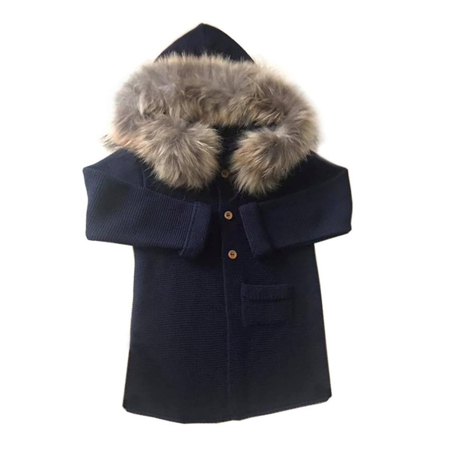 Navy fur coat