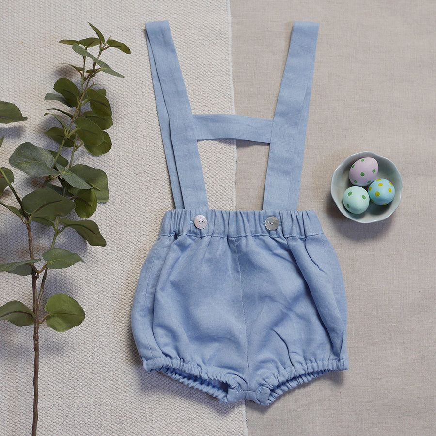 Blue baby short with braces