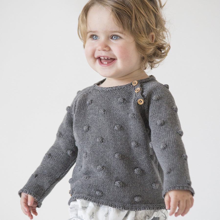 Grey popcorn knit jumper