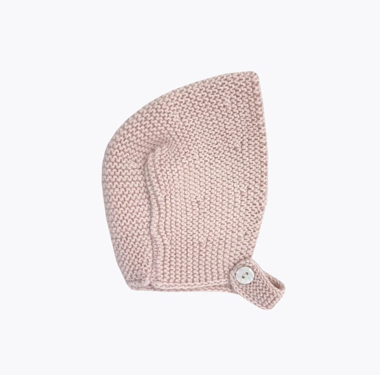 Dusty pink baby bonnet