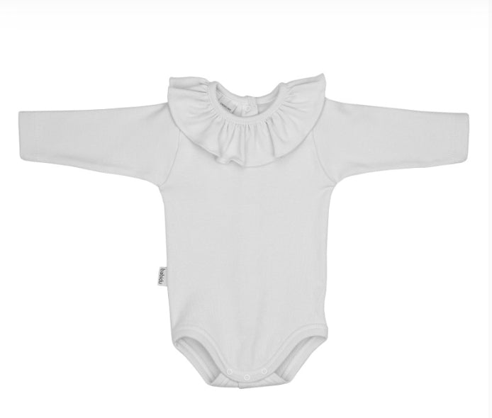 White baby bodysuit with collar