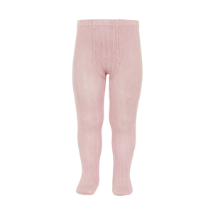 Dusty pink ribbed condor tights