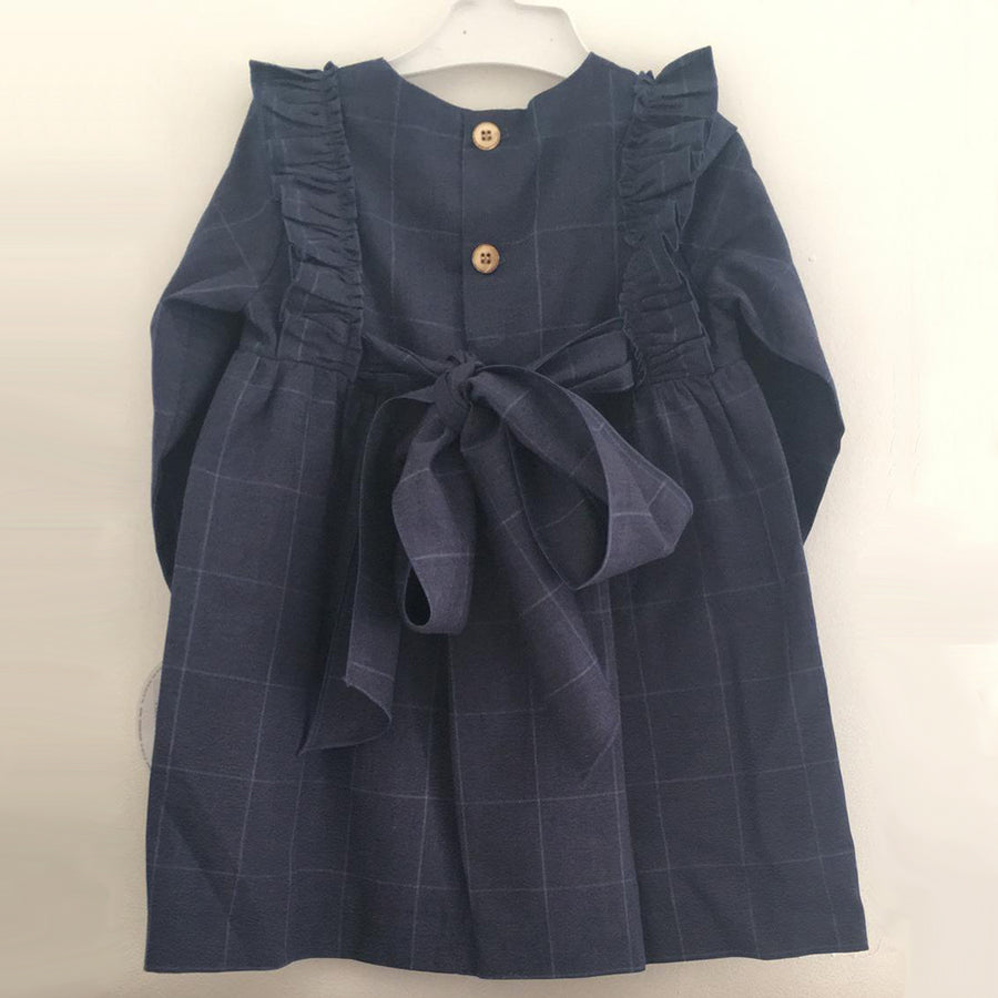 NAVY DRESS WITH RUFFLE