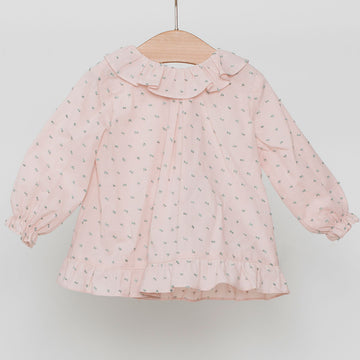 Dusty pink ruffle collar girl's shirt