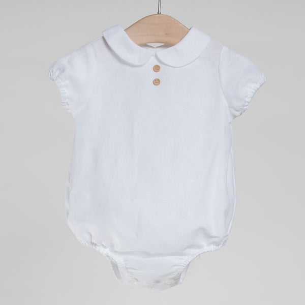 White cotton linen bodysuit