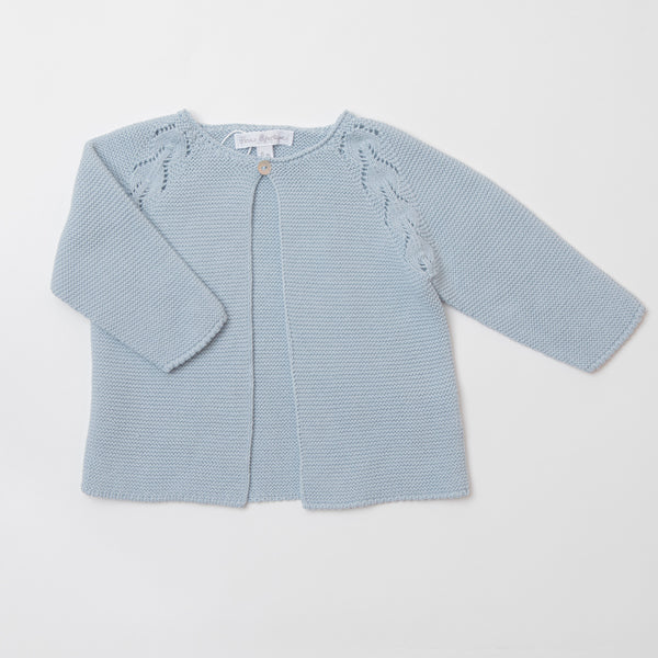 Cotton openwork blue cardigan