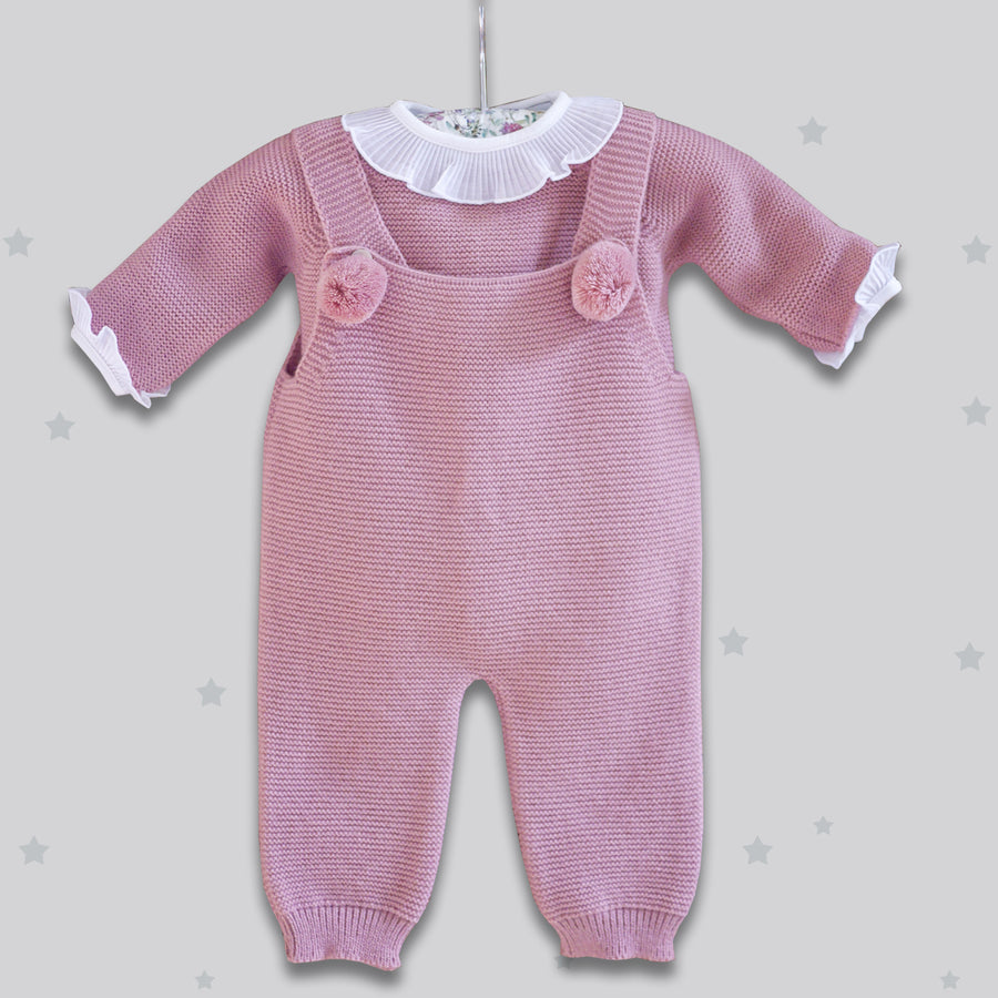 Pink baby romper with pompoms