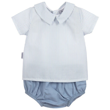 Blue & Ivory Cotton Shorts Set