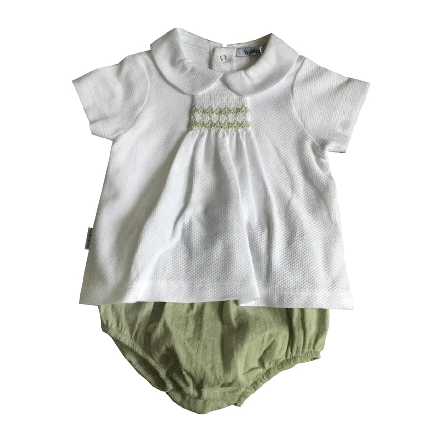 Green Cotton Shorts Set