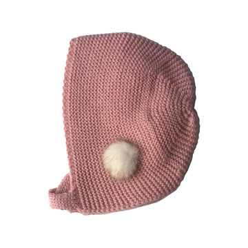 Dusty pink baby bonnet with small pom pom
