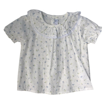 Flower pattern collar girl shirt
