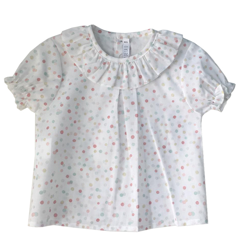 Pattern dots collar girl shirt