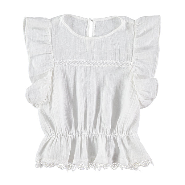 Spanish lace trimmings girl's white top