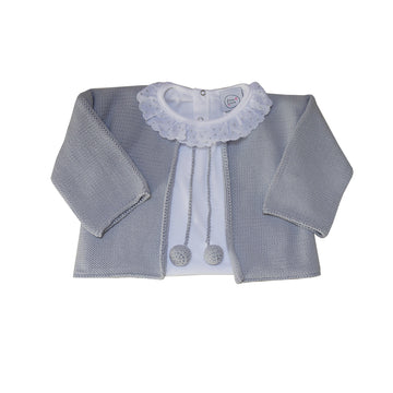 Grey baby cardigan with pompoms