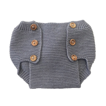 Grey knitted baby bloomers