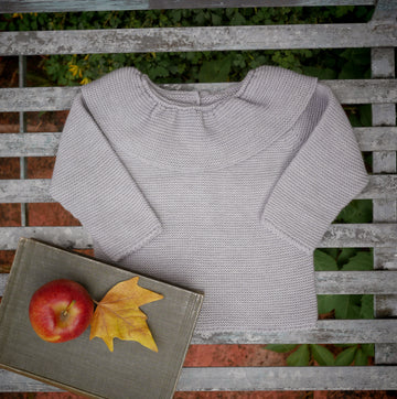 grey ruffle collar jumper
