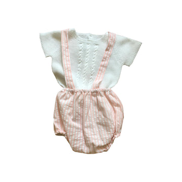 Pink baby short with braces set