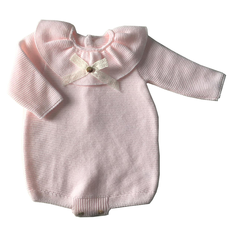Pink Ruffle collar baby romper
