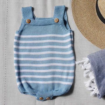 Baby blue striped romper