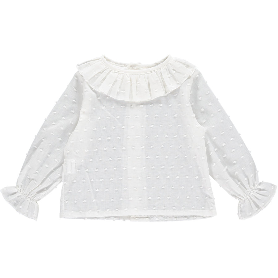 Ruffle collar girls shirt (white)