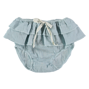 Blue ruffle baby bloomers