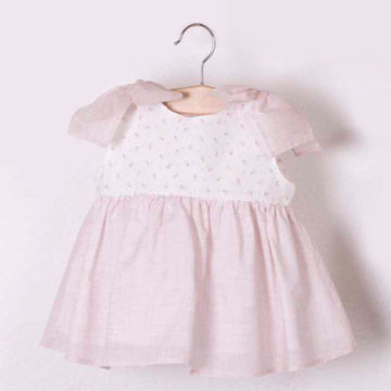 Pink girl dress with flowers and ties