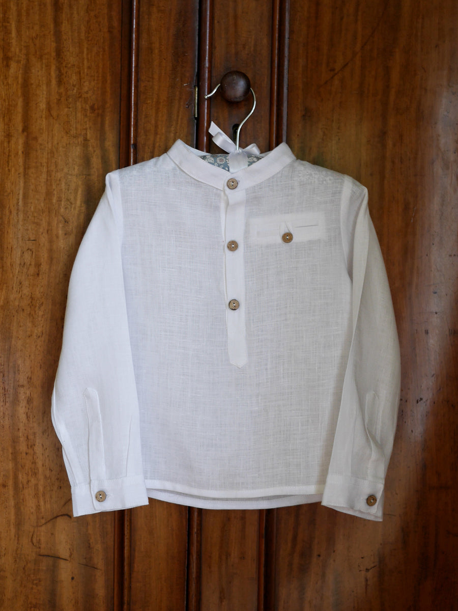 White cotton linen boys shirt