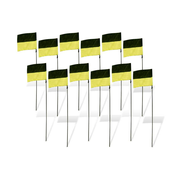 8 in. FPV Racing Flag Markers with Poles (Set of 12) - Yellow/Black