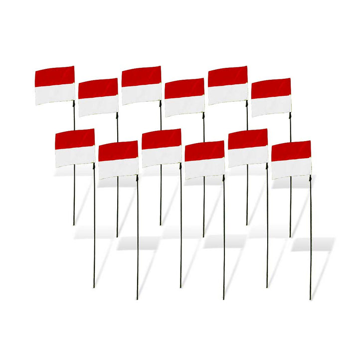 8 in. FPV Racing Flag Markers with Poles (Set of 12) - White/Red