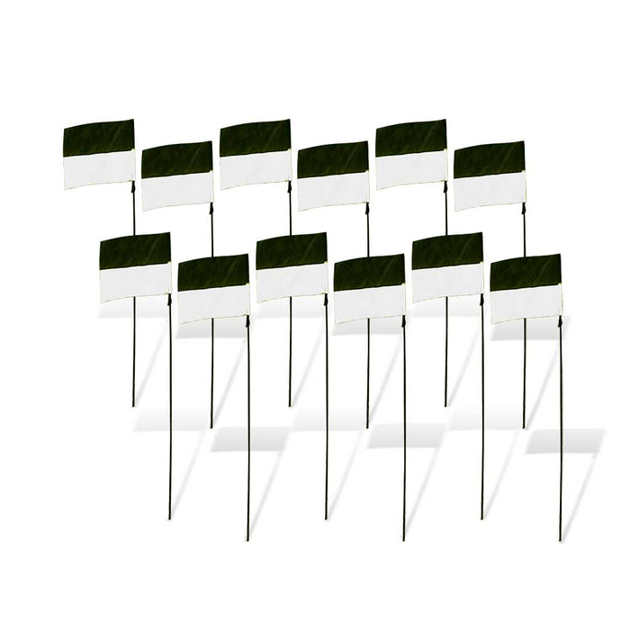8 in. FPV Racing Flag Markers with Poles (Set of 12) - White/Black