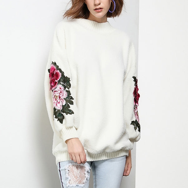 Lantern Sleeve Embroidery Sweaters