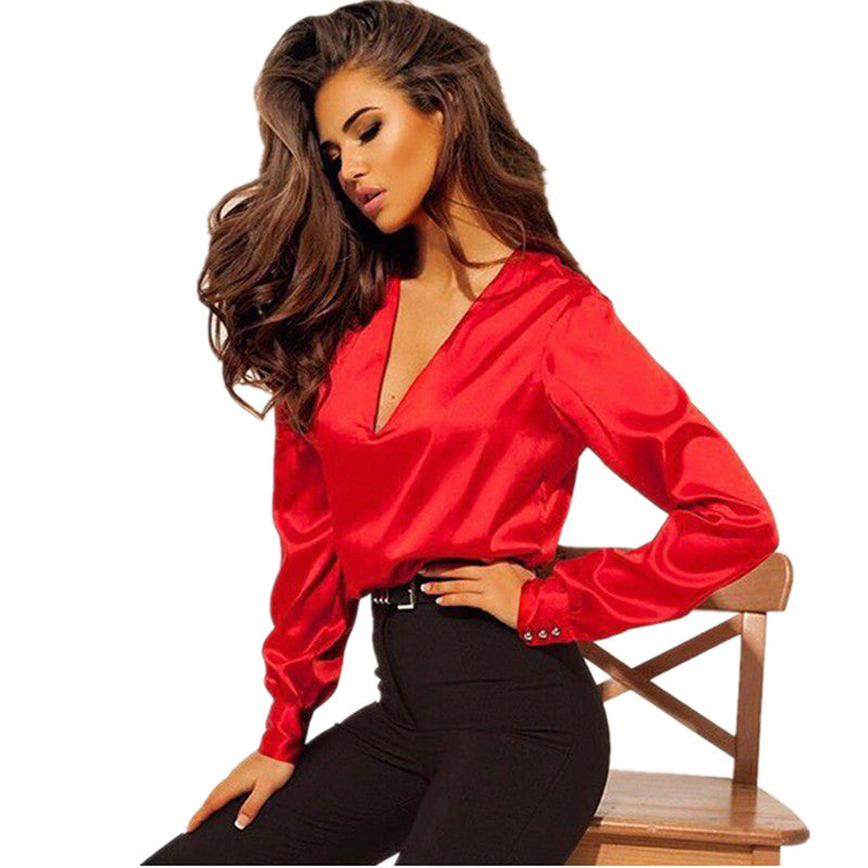 V Neck Satin Blouse Shirt