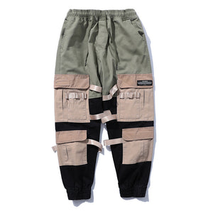 Patchwork Ribbons Side Pockets Joggers